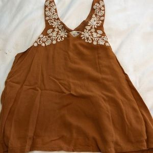 Pacsun burnt orange embroidered tank top